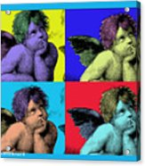 Sisteen Chapel Blue Cherub Angels After Michelangelo After Warhol Robert R Splashy Art Pop Art Print Acrylic Print