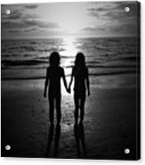 Sisters In Black And White Acrylic Print