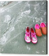 Sisters Playing Barefoot In The Sand Acrylic Print