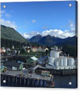 Sitka From The Waterfront Showing The Three Sisters In The Back 2015 Acrylic Print