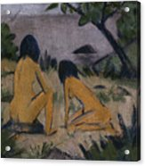 Sitting And Kneeling Figures On The Bank Of The Moritzburg Lakes Acrylic Print