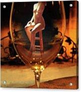 Sitting Nude In Glass Acrylic Print