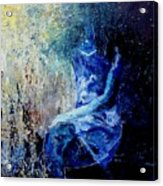 Sitting Young Girl Acrylic Print by Pol Ledent