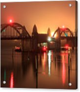 Siuslaw River Bridge At Night Acrylic Print