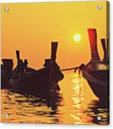 Six Thai Wooden Boats Floating And Glittering In The Lagoon During Golden Sunset Koh  Acrylic Print