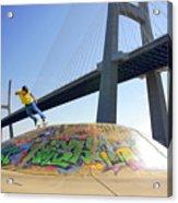 Skate Under Bridge Acrylic Print