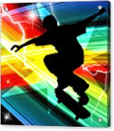 Skateboarder In Criss Cross Lightning Acrylic Print by Elaine Plesser