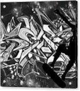 Skateboarder On Graffitti Acrylic Print