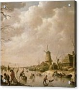Skaters On A Frozen Canal Acrylic Print by Hendrik Willem Schweickardt