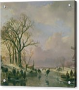 Skating In Holland Acrylic Print by Andreas Schelfhout