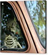 Skeleton Behind The Wheel Of Chevy Truck Acrylic Print