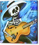 Skeleton Guitar Day Of The Dead  Acrylic Print
