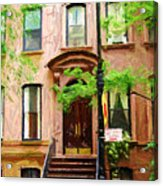 Sketch Of Carrie Bradshaw Greenwich Village Brownstone Acrylic Print