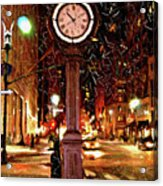 Sketch Of Midtown Clock In The Snow Acrylic Print