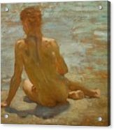 Sketch Of Nude Youth Study For Morning Spelendour Acrylic Print