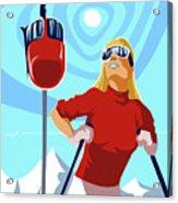 Ski Bunny Retro Ski Poster Acrylic Print