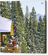 Skiers On Balcony Of Ski Lodge Prepare Acrylic Print
