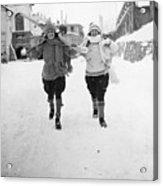 Skiing At St Moritz Acrylic Print