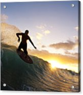 Skimboarding At Sunset I Acrylic Print