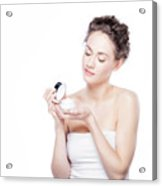 Skin Care. Young Woman Opening A Creme Jar Acrylic Print
