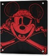 Skull And Bones Mickey In Red Acrylic Print