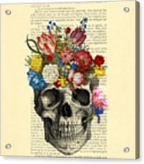 Skull With Flowers Vintage Illustration Acrylic Print