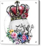 Skull Queen With Flowers Acrylic Print