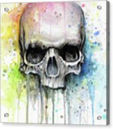 Skull Watercolor Rainbow Acrylic Print