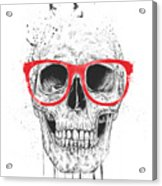 Skull With Red Glasses Acrylic Print