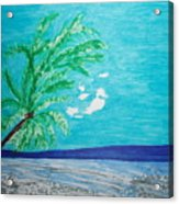 Sky Blue Palm Tree Beach Acrylic Print