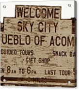 Sky City Sign Acrylic Print
