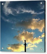 Sky Clouds And Statue In Stuttgart Germany Acrylic Print