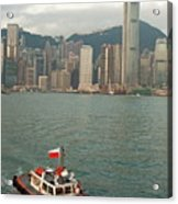 Skyline Across The Harbor From Kowloon In The Morning Acrylic Print by Sami Sarkis