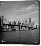 Skyline And The Brooklyn Bridge Acrylic Print