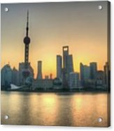 Skyline At Sunrise Acrylic Print by Photo by Dan Goldberger