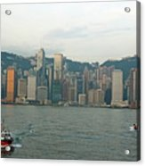 Skyline From Kowloon With Victoria Peak In The Background Acrylic Print by Sami Sarkis
