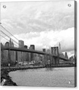 Skyline Nyc Brooklyn Bridge Bw Acrylic Print