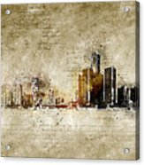 skyline of Detroit in modern and abstract vintage-look Acrylic Print