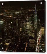 Skyline Of New York City - Lower Manhattan Night Aerial Acrylic Print