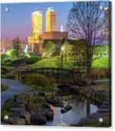 Skyline Of Tulsa Oklahoma At Dusk Acrylic Print