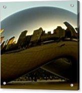 Skyline Reflection On Cloud Gate - Chicago -  Acrylic Print