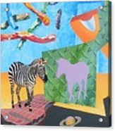 Skyworms With Levitated Zebra And The Planet Saturn Acrylic Print