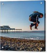 Slacklining On Aberystwyth Beach Acrylic Print