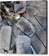 Slate On Floor Boards Acrylic Print by Terry  Wiley