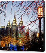 Slc Temple Lights Lamp Acrylic Print by La Rae  Roberts