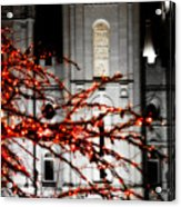 Slc Temple Red White N Black Acrylic Print by La Rae  Roberts