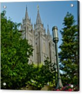 Slc Temple Walk Acrylic Print by La Rae  Roberts
