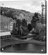 Sleepy Hollows Farm Woodstock Vermont Vt Pond Black And White Acrylic Print