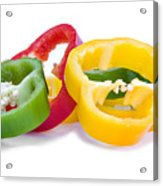 Sliced Colorful Peppers Acrylic Print