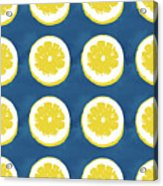 Sliced Lemons On Blue- Art By Linda Woods Acrylic Print